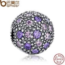 925 Sterling Silver Cosmic Stars Clip, Violet & Pink CZ Charm Fit Bracelet & Necklace Jewelry Accessories PAS189(China)