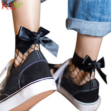 Trendy Style Women Socks Meias Bow-Knot Calcetines Women Summer Ruffle Fishnet Ankle Socks Mesh Lace Fish Net Short Socks Gifts