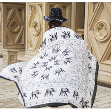 2017 new scarf fashion simple elephant scarf double sided large cotton shawl holiday travel Beach sunscreen