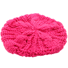 2016 Girls Hot Pink  Soft Fashion Fancy New Winter Warm Womens Beret Braided Baggy Beanie Knitted Hat Cap Gorras planas