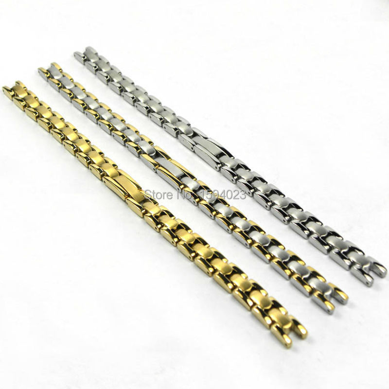 8mm T003209 Watchband Watch Parts Female strip Solid Golden Between gold Silver Stainless steel bracelet strap<br>
