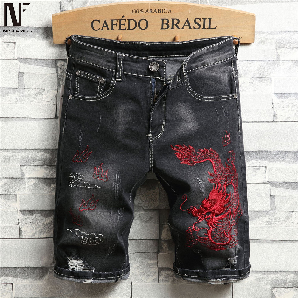 Dragon Skull Print Jeans Hip Hop Men Beach Shorts Embroidery Harajuku Short Jean 2019 Novelty Fitness Jeans Mens Summer Clothes