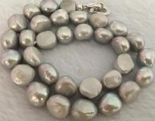 free shipping 6-12mm south sea baroque grey pearl necklace 17inch