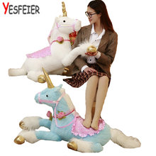 pink/white/blue Cute 90cm Unicorn Horse plush toys stuffed animal plush horse cloth doll stuffed plush animals birthday gift(China)