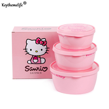 Keythemelife 3PCS/set Kitchen Food Storage Box Preservation Box Plastic PP Hello kitty Food Container Refrigerator Organizer 2D(China)