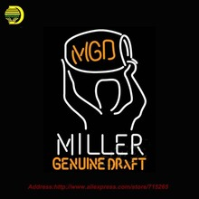 Miller Time MGD Kegman NEON SIGN Draft Neon Bulb Handcrafted Recreation Room Glass Tube Neon Sign for Beer Lighted Led 31x24