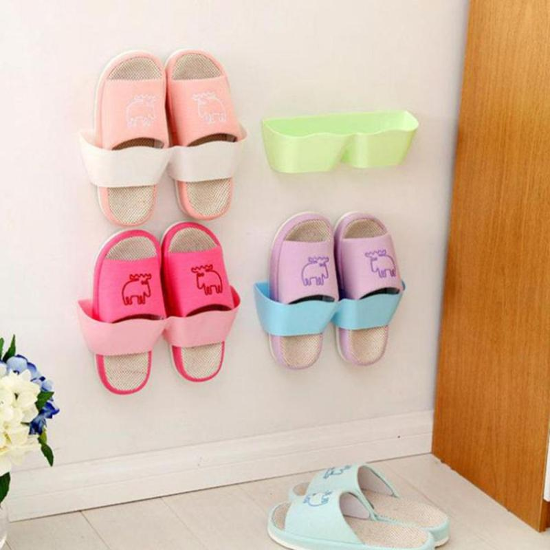 Wall-Mounted Sticky Hanging Shoe Holder Hook Shelf Rack Organiser Accessories Storage Holder with 1pc Double Sides Tape 45(China (Mainland))
