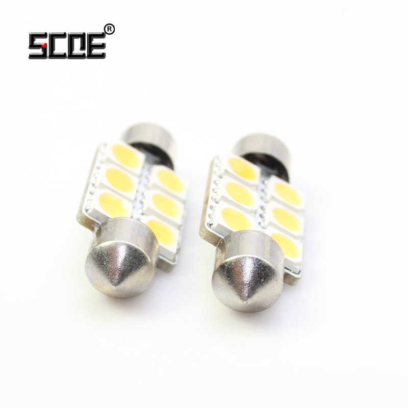 SCOE 36MM 12V 6SMD 5050LED Car Styling Light Bulb Lamp Blue Crystal Blue Green Red Yellow Purple White Warm White