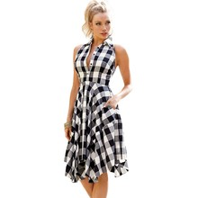 2017 Sexy beautiful summer dresses casual black white gray print vintage fit and flared clothing womens plaid shirt dress Q61513(China)