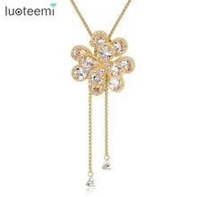 LUOTEEMI Vintage Clear CZ Flower Y Adjustable Rope with Slider Stopper Chain Necklace For Women Champagne Gold Color Jewelry