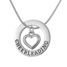 Minimal Engraved Letter Cheerleading Fashion Necklace Heart in Cheerleading Disc Pendant Snake Necklace Jewelry Gifts(China)