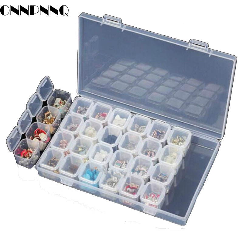 ONNPNNQ 28 Slots Clear Plastic Empty Storage Box Jewelry Nail Art Rhinestone Tools Display Storage Case Travel Organizer Holder6