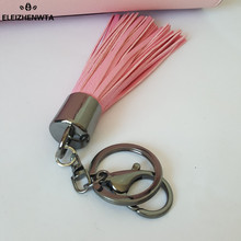 ELEIZHENWTA Pink &White leather Long Tassel Charm Key Chains Black Clasp Women Purse Accessories Handbag Ornamet Gift Keychain