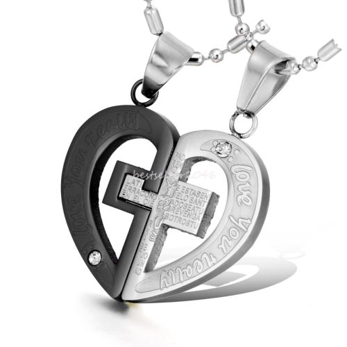 "Couple his and her Necklaces Stainless Steel Cross Heart love Pendant Engraved ""LOVE YOU REALLY"" Necklaces For Couples(China (Mainland))"