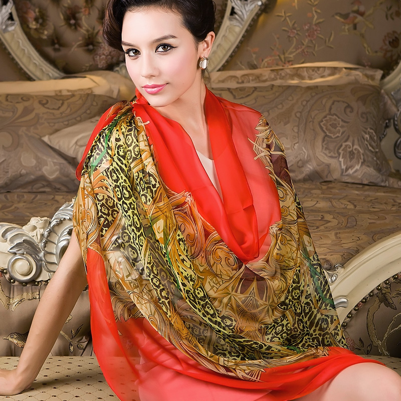 2015 Red Women Long Silk Scarf Shawl Printed Female Spring Autumn Silk Scarf Wraps Fashionable Casual All-match Cape Scarves(China (Mainland))