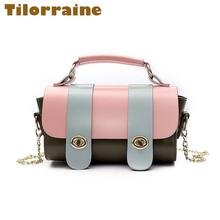 Retro Fashion PU Handbags 2017 New Boston Shoulder & Crossbody Bags Mini Cylinder Lock Chain Small Women's Messenger Bag(China)