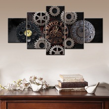 Fashion Painting High Quality Canvas Print Framework Room Decoration 5 Panel Gear Wheel HD Printed Poster Modular Picture