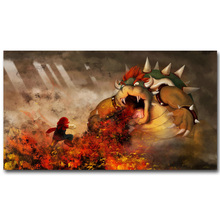 Bowser - Super Mario Bros Art Silk Fabric Poster Print 13x20 24x36 inch Vedio Game Pictures for Living Room Wall Decoration 069(China)