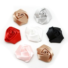 DIY 10pcs 4cm Handmade Satin Ribbon Rosettes Flower Bow Gir's Dress Bow Appliques Wedding Decor Sewing Accessories