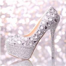 Koovan Women Pump 2017 Fashion Luxury Crystal Diamond Wedding Shoes Genuine Leather Bridal White High Heel Shoes Women Pumps
