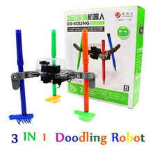 3-in-1 DIY electric Doodling Robot Kit Educational Toy for Kid Color assembling blocks toys doodle toy Pen and Brush included(China)