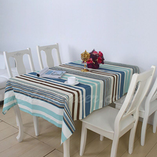 2015 High-grade quality Mediterranean blue polyester fabric stripe table cloth trade waterproof table cloth popular hot sale
