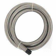 evil energy-10Ft AN6 Stainless Steel Double Braided Oil Fuel Hose Line Car Turbo Oil Cooler Hose Adapter Kit Silver Hose 3 Meter