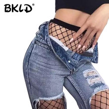 Buy BKLD 2017 New Fashion Hollow Sexy Pantyhose Female Mesh Black Women Tights Stocking Slim Fishnet Stockings Clubwear Hosiery
