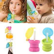 2016 NEW Portable Spill Proof Juice Soda Water Bottle Twist Cover Cap With straw Safe Drink Straw Sippy Cap Feeding for Kids