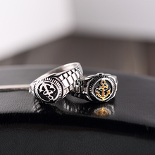 Trendy Jewelry Men Silver Gold Stainless Steel Anchor Rings Cool Biker Men Rings For Male Jewelry(China)