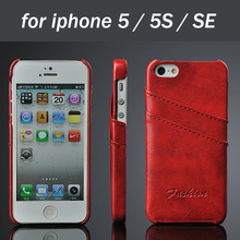 5 Colors Leather Back Cover for iphone 5 5s SE phone case for iphone5 free shipping with 2 card pocket discount price