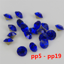 size pp7-pp19 Color sapphire loose pointback glass chaton rhinestones China quality 1400 pcs per pack(China)