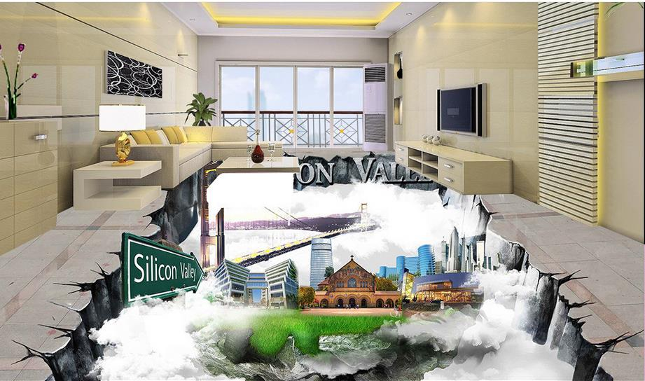 vinyl flooring bedroom wallpaper custom waterproof adhesive wallpaper 3d floor mural Creative wall paper 3d mural<br>