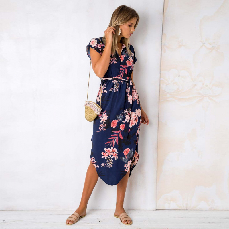 2018 Summer Dress Women Print V Neck Short Sleeve Robe Female Dresses Casual Sashes Midi Dress Ladies Elegant Vestidos Dropship 28