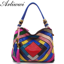 Arliwwi Brand Graceful GENUINE LEATHER Designer Female Colorful Handmade Patchwork Bags Women Bamboo Handle Crossbody Handbag