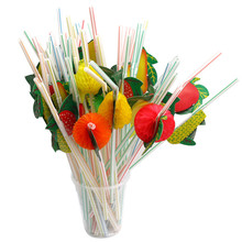 50Pcs New Hawaiian Theme 3D Fruit Summer Party Colorful Cocktail Drink Straw Funny Party Supplies(China)