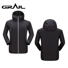 GRAIL Outdoor Men Silver Dot Heat Reflect Hiking Jacket Windproof Waterproof Breathable Thin Coat Thermal Parkas 0100A-B