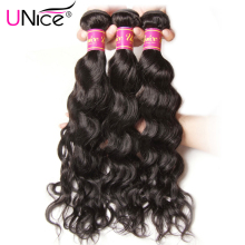 "UNice Hair Company Peruvian Natural Wave Bundles 1 Piece Only 100% Human Hair Extension Natural Color Non-Remy Hair Weave 8""-26"""