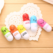 6 PCS Cute Cartoon Colorful Flexible Ballpoint Pen Korean Stationery Creative Student Gift School Supplies Capsule Ballpoint Pen(China)