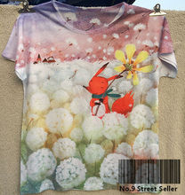 Track Ship+New Fresh Hot T-shirt Top Tee I Like Most Child Dream Heaven Happy Red Fox in White Dandelion Dandelions 0304(Hong Kong)