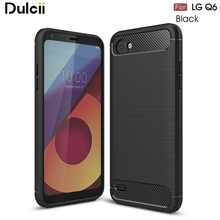 Dulcii For LG Q6 Case Carbon Fiber Texture Brushed TPU Mobile Casing for LG Q6 - 5.5 inch