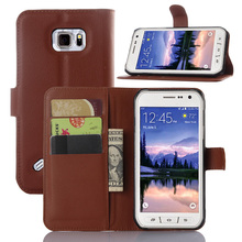 Luxury Genuine PU Leather Flip Case Cover For Samsung Galaxy S6 Active G890 Cell Phone Shell Back Cover Card Holder Grass Brown