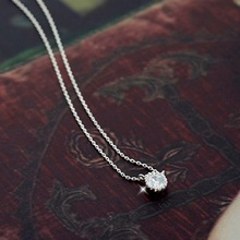 Flyleaf 925 Sterling Silver Round Necklaces & Pendants For Women Fashion Lady Cubic Zirconia Diamonds Jewelry Collier Femme