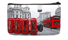Black and white London City Style Retro Red bus and Telephone Boxes Pattern Print Custom Small Cosmetic Bag Wristlet hand bag(China)