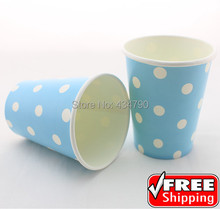 60pcs 9OZ  Blue Party Paper Cups Drinking White Polka Dot,Disposable Baby Shower Tea Ice Cream Tableware-Choose Your Colors