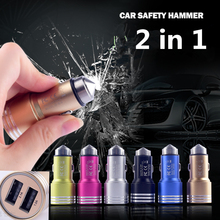 Lifesaving Hammer metal car charger 3.1 A dual USB mobile phone charging smart car cigarette lighter power drive(China)