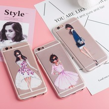 Napeyin New Case Cover For Iphone 6 6s Plus 5 5s SE 4 4s 6Plus Kardashian drink coffee Girl Design Transparent TPU Phone Cases