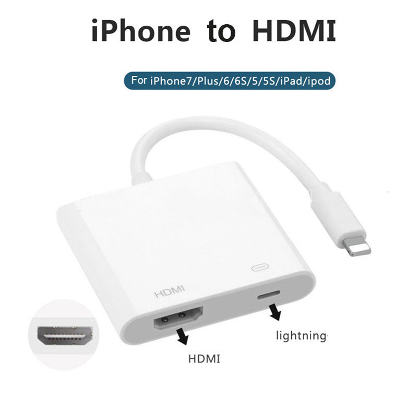 AHHROOU 1080P HDMI Cable For Lightning To AV HDMI / HDTV TV Digital Cable Adapter For iPhone X 8 For iPhone 7 Plus For iPad Mini 4