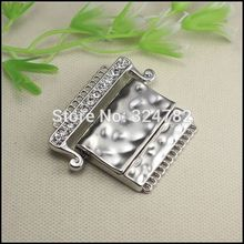 10pcs Antique Silver plated Crystal Rhinestones Belt Buckle Strong Magnetic Clasp for Leather CORD jewelry findings