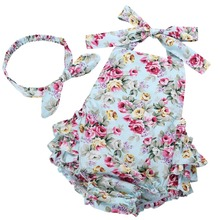 Summer newborn baby girl clothes infant suspenders ropa de bebe nina 2016 Baby Wear Jumpsuits Clothing suit baby romper 7E2037(China)